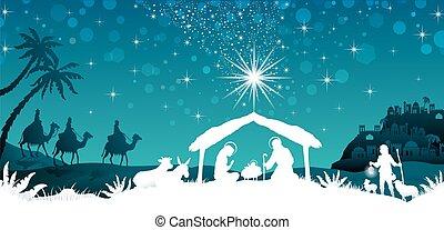 blanco, silueta, escena, natividad