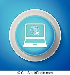 blanco, sitio web, en, computador portatil, pantalla, icono, aislado, en, azul, fondo., computador portatil, con, globo, y, cursor., world wide web, símbolo., círculo, azul, botón, con, blanco, línea., vector, ilustración