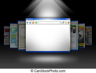 blanco, sitio web, información, internet