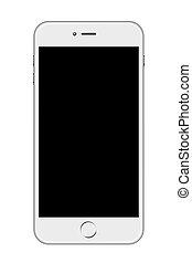 blanco, smartphone, aislado, plano de fondo