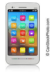 blanco, smartphone, touchscreen