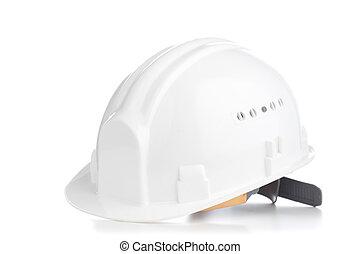 blanco, sombrero duro, aislado
