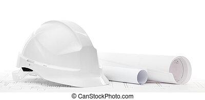 blanco, sombrero duro, cerca, trabajando, dibujos, aislado, blanco