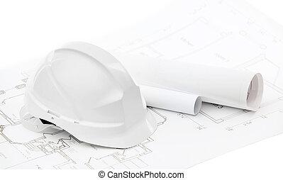 blanco, sombrero duro, cerca, trabajando, dibujos