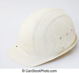 blanco, sombrero duro