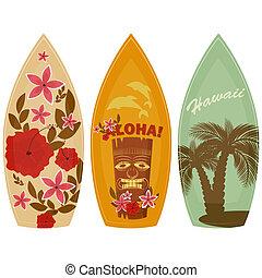 blanco, tablas de surf, plano de fondo, aislado