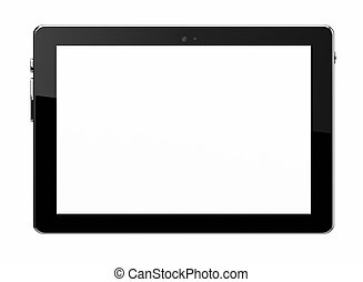 blanco, tableta, aislado, con, pantalla en blanco