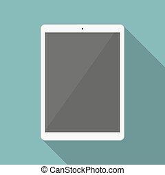 blanco, tableta, en, un, plano, diseño, con, largo, sombra