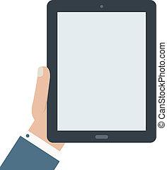 blanco, tableta, tenencia, plano, diseño