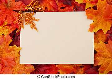 blanco, tarjeta, con, permisos de otoño, para, su, mensaje, o, invitación