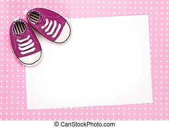 blanco, tarjeta, con, rosa, bebé zapatos