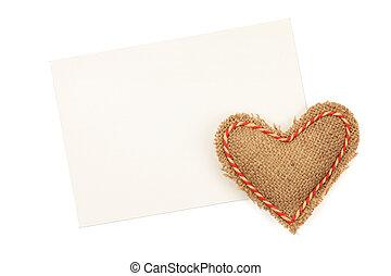 blanco, tarjeta de felicitación, y, vendimia, handmaded, día de valentines, juguete, hea