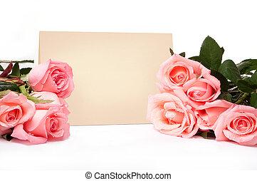 blanco, tarjeta, para, felicitaciones, con, rosas