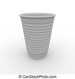 blanco, taza de plástico
