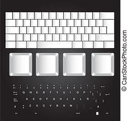 blanco, teclado