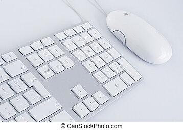 blanco, teclado, y, un, ratón