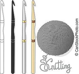blanco, tejido de punto, ilustración, pelota, imagen,...