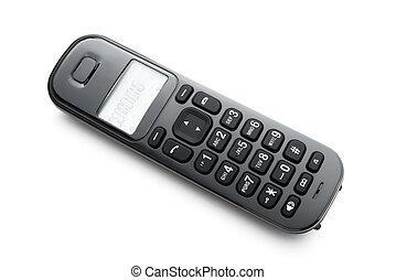 blanco, teléfono negro, plano de fondo, receptor