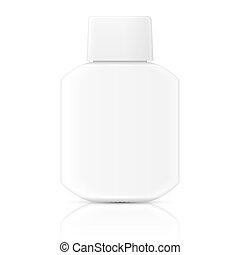 blanco, template., botella, loción
