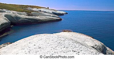 blanco, tiza, acantilados, erosionado, litoral