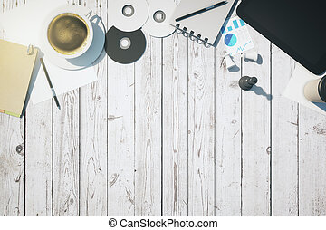 blanco, topview, escritorio
