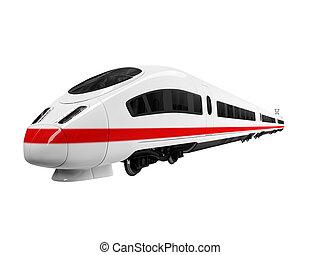 blanco, tren, aislado, vista