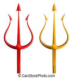 blanco, tridente, plano de fondo, oro, rojo