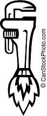 blanco, tubo, aumentador de presión, cohete, retro, llave inglesa, lado, negro