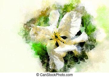 blanco, tulipanes, y, softly, confuso, acuarela, fondo.