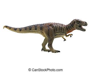 blanco, tyrannosaurus-rex, aislado, plano de fondo