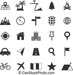 blanco, ubicación, plano de fondo, iconos