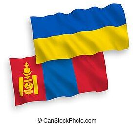 blanco, ucrania, mongolia, banderas, plano de fondo