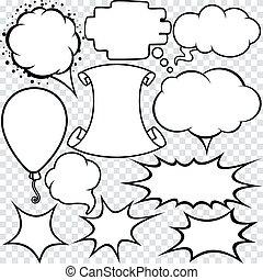 blanco, vacío, blanco, discurso, burbujas