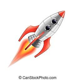 blanco, vector, aislado, cohete
