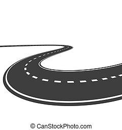 blanco, vector, aislado, plano de fondo, carretera
