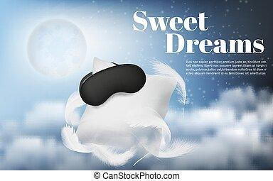 blanco, vector, almohada, plano de fondo, noche