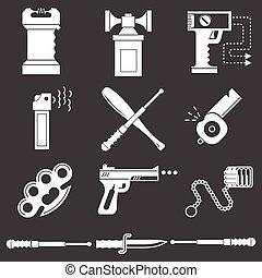 blanco, vector, autodefensa, colección, iconos