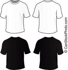 blanco, vector, camisas, tee