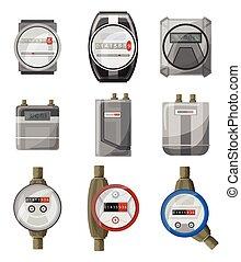 blanco, vector, counters., potencia, gas, eléctrico, conjunto, aislado, caricatura, agua, icon., metros, metro, colección, símbolo, plano de fondo