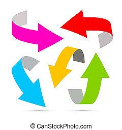 blanco, vector, flechas, plano de fondo, colorido
