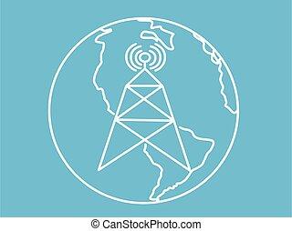 blanco, vector, icono, azul, telecomunicación