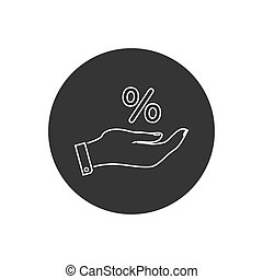 blanco, vector, icono, mano, fondo., porcentaje, línea, ...