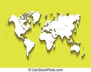 blanco, vector, mapa, de, world., moderno, plano, diseño, con, caído, largo, sombra, aislado, en, fondo verde