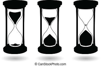 blanco, vector, negro, reloj de arena