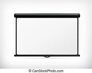 blanco, vector, pantalla de proyección