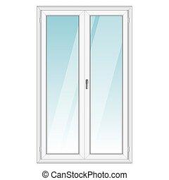 blanco, vector, puerta, pvc