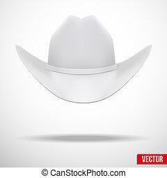 blanco, vector, sombrero, plano de fondo, vaquero