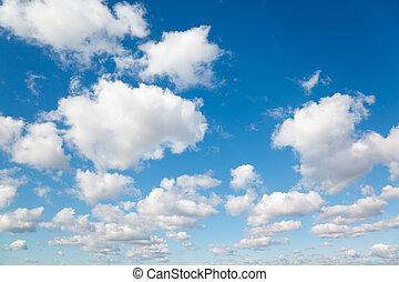 blanco, velloso, nubes, en, azul, sky., plano de fondo, de,...