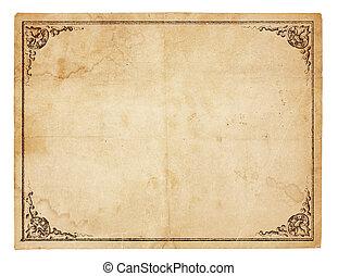 blanco, vendimia, papel, con, antigüedad, frontera