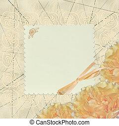 blanco, vendimia, tarjeta de felicitación, con, flores, diseño